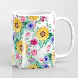 Sunflower, anemone, dahlia, rose and beauty berry watercolor floral Coffee Mug