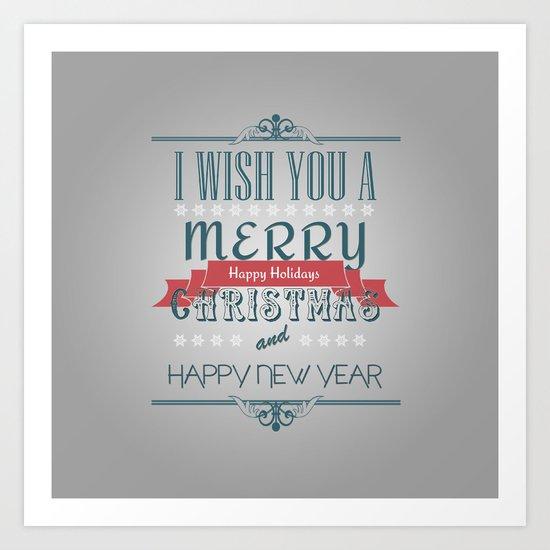 Merry Christmas grey Art Print