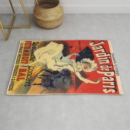 Jardin De Paris F Te De Nuit Bal 1896 By Jules Cheret | Reproduction Art Nouveau Rug