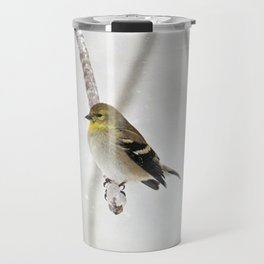Goldfinch Clinging to an Icy Branch Travel Mug