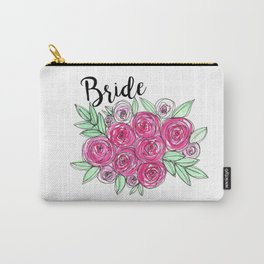 Bride Wedding Pink Roses Watercolor Carry-All Pouch