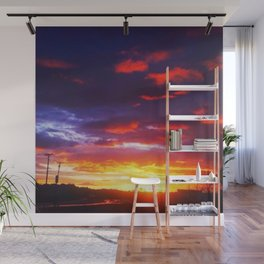 Orange & Indigo New Mexico Sunset paintedsky Wall Mural