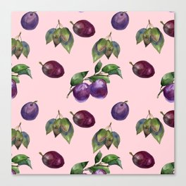 Watercolor plums Canvas Print