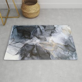 Calm but Dramatic Light Monochromatic Black & Grey Abstract Rug