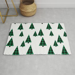 Christmas Tree forest minimal scandi dots plaid patterned holiday winter Rug