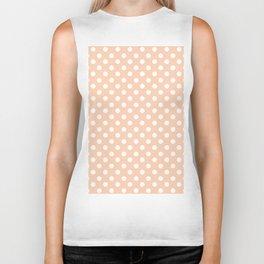 Apricot and White Polka Dot Pattern Biker Tank