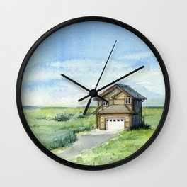 Beach House Landscape Watercolor | Long Beach, WA Wall Clock