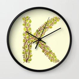 Leafy Letter K Wall Clock
