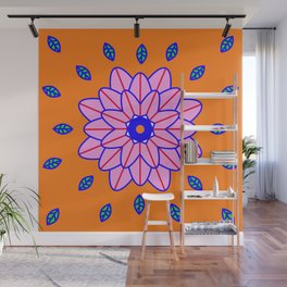 Flower Power Orange Vibes Wall Mural