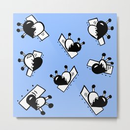 Hearts with Stitches - Black with Blue Metal Print