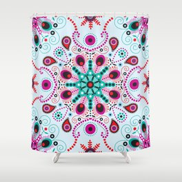 Pointillism mandala | Light blue, red and purple Shower Curtain