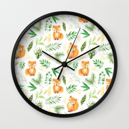 Hand painted cute brown fox watercolor green floral leaves Wall Clock