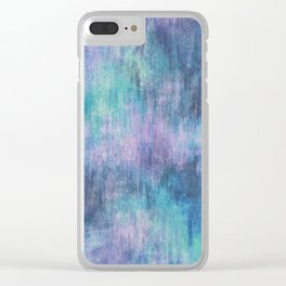 Baja Blue Watercolor Streaks Clear iPhone Case