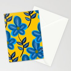 Blue Flowers and Yellow Pattern Stationery Cards