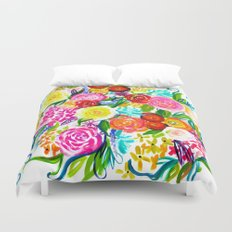 Bright Colorful Floral painting Duvet Cover