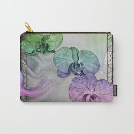 Phalaenopsis Orchid in Black and White Carry-All Pouch