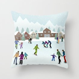 People Skating on the Ice Rink During Winter Throw Pillow