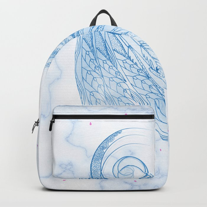 Beautiful Feathers on Blue Marble Design Backpack