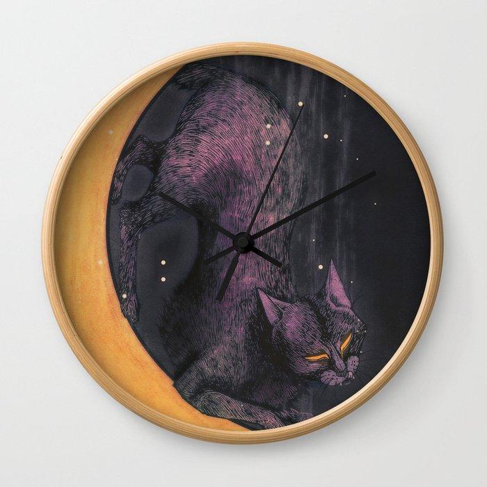 Mooncat Wall Clock