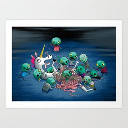 Zombies Vs Unicorn Art Print