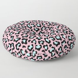 Leopard fur texture pattern: pink and blue background. Floor Pillow