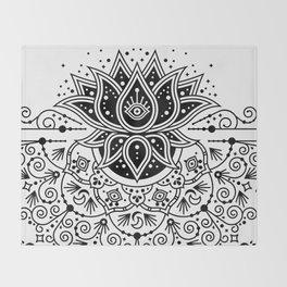 Lotus Blossom Mandala – Black Palette Throw Blanket