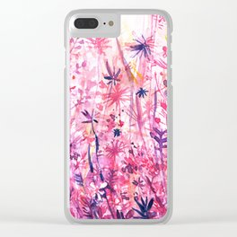watercolor pink grass Clear iPhone Case
