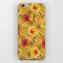Leave And Flowers Pattern iPhone Skin
