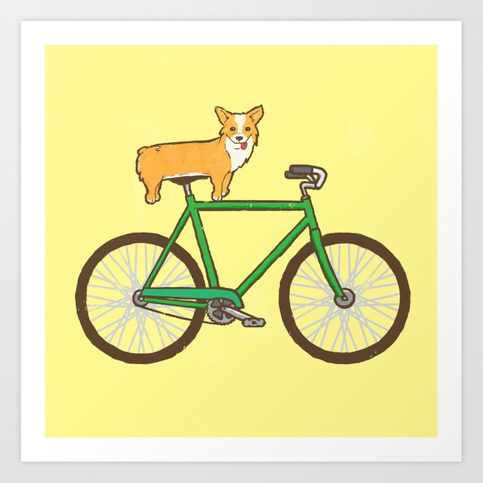 Corgi On A Bike Art Print By Joevw Society6