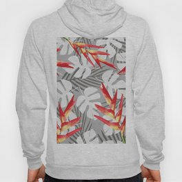 Heliconia Flower with white Monstera Leaves Hoody