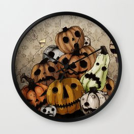 Halloween Pumpkins, a Cornucopia of Jack o' lanterns. spoopy Wall Clock
