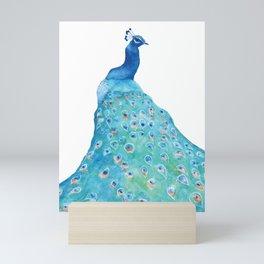 Peacock, teal bird, watercolor painting, home decor Mini Art Print