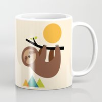 cartoons Mugs featuring Keep Calm And Live Slow by Andy Westface