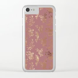 Mauve pink faux gold wildflowers illustration Clear iPhone Case