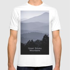 Misty morning at the Smoky's MEDIUM Mens Fitted Tee White