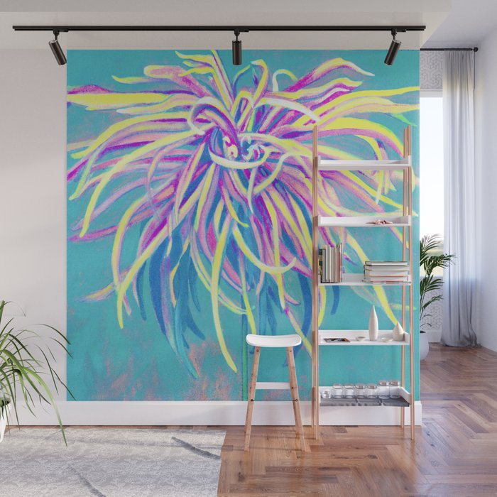 Bright Blue Pop Art Chrysanthemum Wall Mural