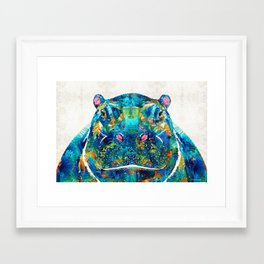 Hippopotamus Art - Happy Hippo - By Sharon Cummings Framed Art Print