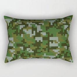 Green Pixel Army Camo pattern Rectangular Pillow