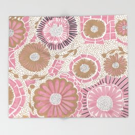 Pink & Gold Flowers Throw Blanket