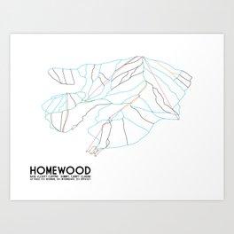 Homewood Ski Resort, CA - Minimalist Trail Art Art Print