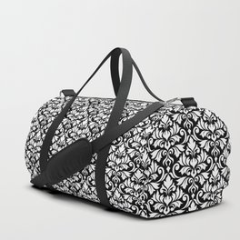 Flourish Damask Big Ptn White on Black Duffle Bag