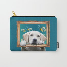 Golden Retriever Frame tropical fish turquoise Carry-All Pouch