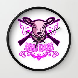 HER BUCK HIS DOE Valentines Day Couple Gift Hunter Wall Clock