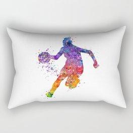 Girl Basketball Colorful Watercolor Sports Artwork Rectangular Pillow