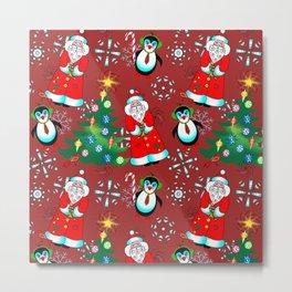 Santa and Penguin in Wine Red Metal Print