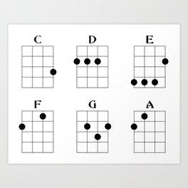 Ukulele chord 6 Art Print