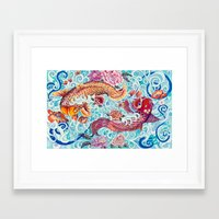 koi fish Framed Art Prints featuring Koi Fish by Art by Risa Oram