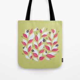 Pretty Plant With White Pink Leaves And Ladybugs Tote Bag