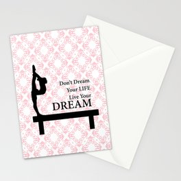 Gymnastics Don't Dream Your Life Live Your Dream-Millennial Pink Stationery Cards