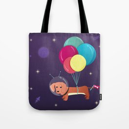 Galaxy Dog with balloons Tote Bag